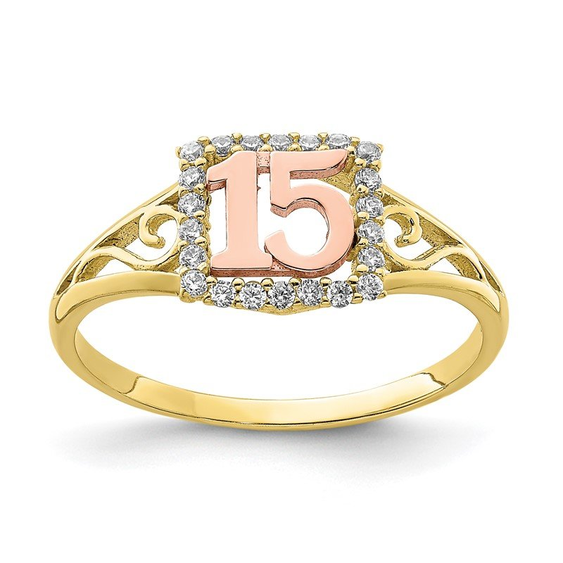 Quality Gold 10K Two-Tone CZ 15 Ring
