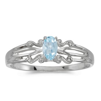 10k White Gold Oval Aquamarine Ring