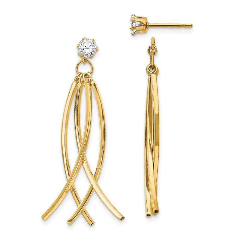 Quality Gold 14k Curved Stick Jacket w/CZ Stud Earrings