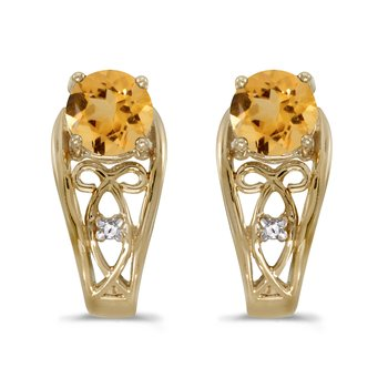 10k Yellow Gold Round Citrine And Diamond Earrings