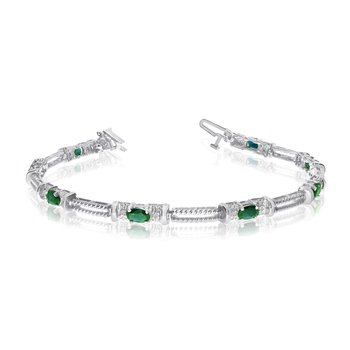 10k White Gold Natural Emerald And Diamond Tennis Bracelet