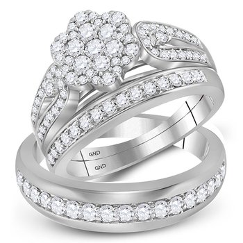 10kt White Gold His & Hers Round Diamond Cluster Matching Bridal Wedding Ring Band Set 1-1/3 Cttw