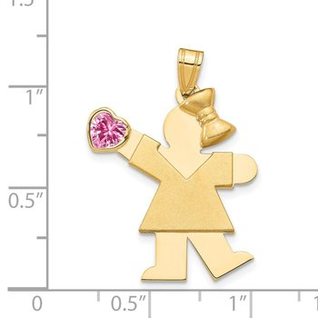 14k Girl with CZ October Birthstone Charm