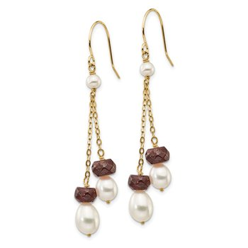 14K White Freshwater Cultured Pearl Garnet Double Chain Dangle Earrings
