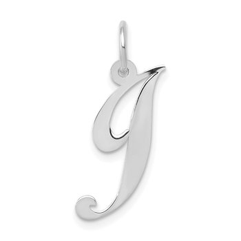 14K White Gold Medium Fancy Script Letter J Initial Charm
