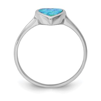 Sterling Silver Rhodium-plated Polished Heart Synthetic Opal Ring