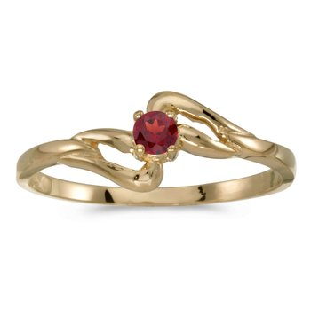14k Yellow Gold Round Garnet Ring