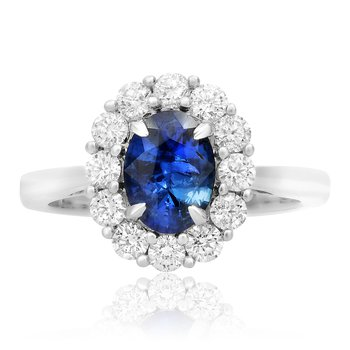Single Halo Sapphire & Diamond Ring