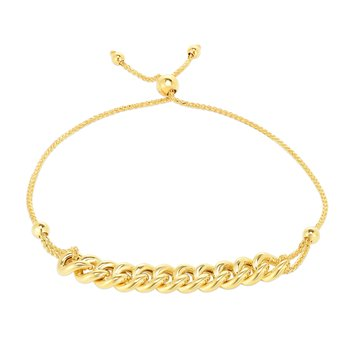 14K Gold Curbed Chain Friendship Bracelet