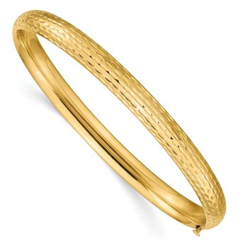 14k 4/16 Diamond-cut Fancy Hinged Bangle Bracelet