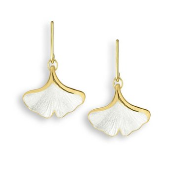 White Ginkgo 1-Leaf Wire Earrings.18K