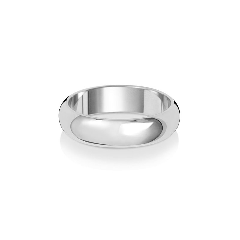 Treasure 18Ct White Gold 5mm D Shape Wedding Ring