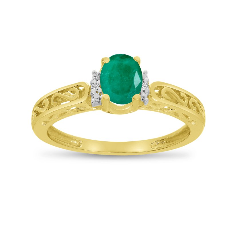 Color Merchants 10k Yellow Gold Oval Emerald And Diamond Ring