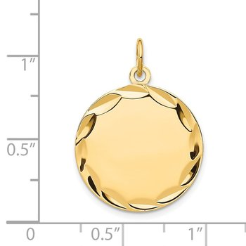 14k Etched .035 Gauge Engravable Round Disc Charm