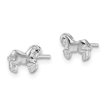 Sterling Silver Rhodium-plated Children's Horse Post Earrings