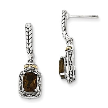 Sterling Silver w/14k Antiqued Smoky Quartz Post Dangle Earrings
