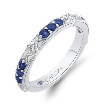 18K White Gold Round Diamond and Sapphire Wedding Band