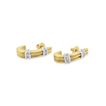 18K Yellow Gold Diamond Two Tone Retro Earrings