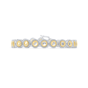 Round Cut Diamond 10K Two-Tone Gold Tennis Bracelet