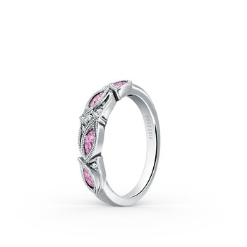 Pink Sapphire Diamond Milgrain Wedding Band