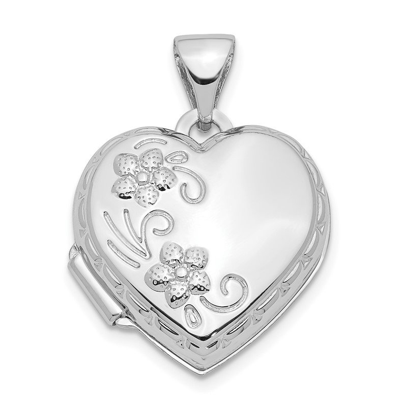 Quality Gold 14k White Gold Polished Heart-Shaped Reversible Floral Locket