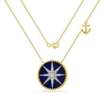 14K lapis compass necklace with 30 diamonds 0.13ct 20mm