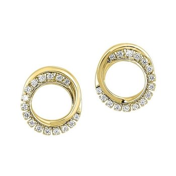 Diamond Double Eternity Circle Stud Earrings in 14k Yellow Gold (⅙ ctw)