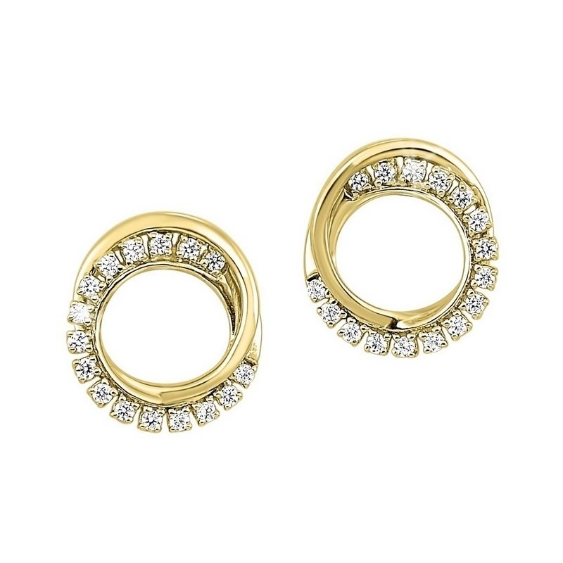 Gems One Diamond Double Eternity Circle Stud Earrings in 14k Yellow Gold (⅙ ctw)
