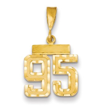 14k Small Diamond-cut Number 95 Charm