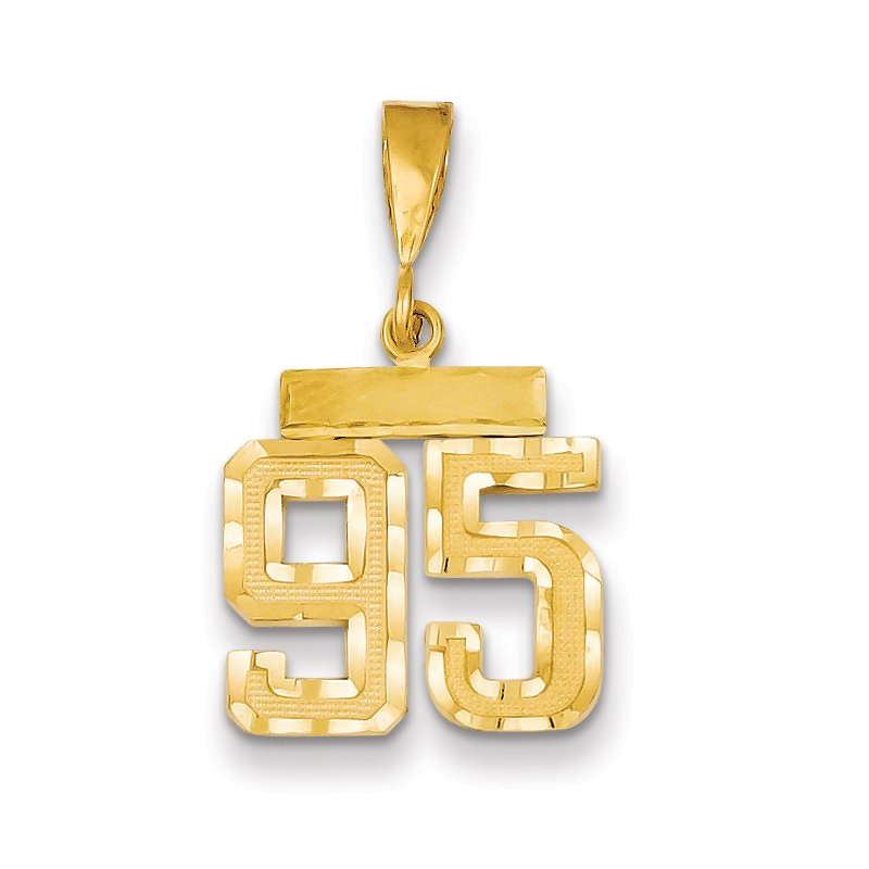 Quality Gold 14k Small Diamond-cut Number 95 Charm