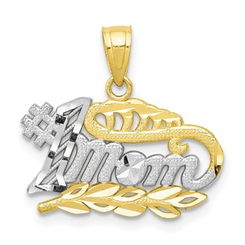 10K w/Rhodium #1 MOM Charm