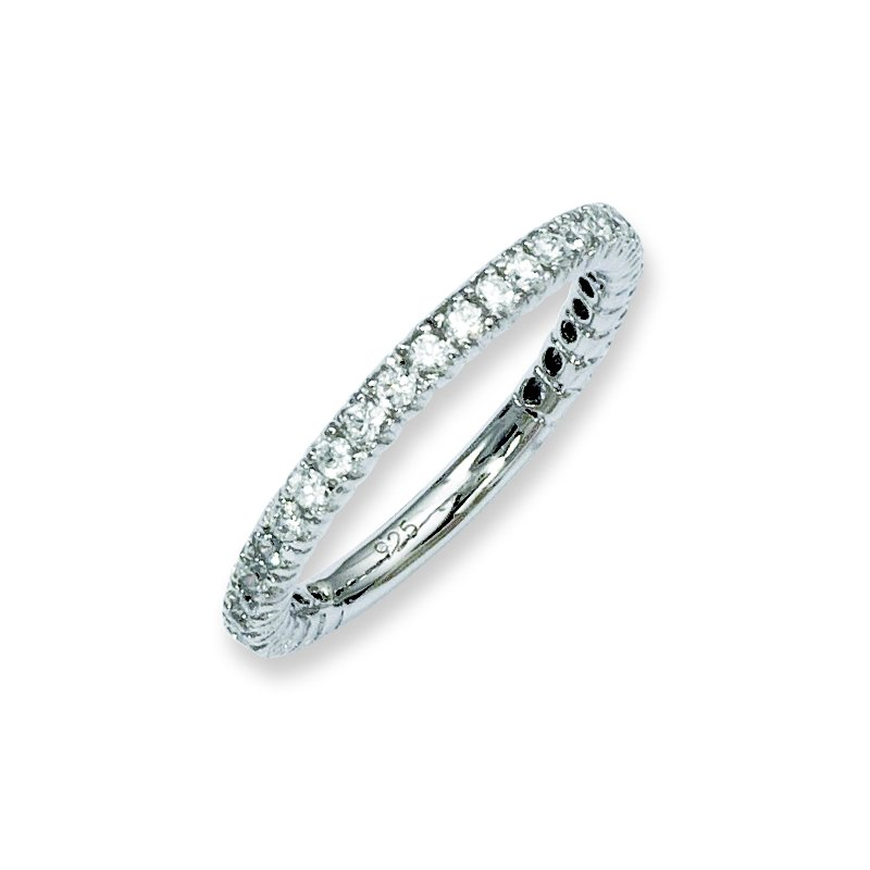 JC Sipe Essentials Sterling Silver Rhodium-plated 28 Stone CZ Ring