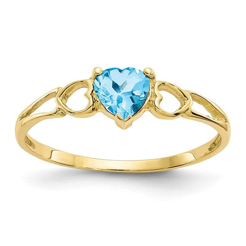 Fine Jewelry by JBD 10k Polished Geniune Blue Topaz Birthstone Ring