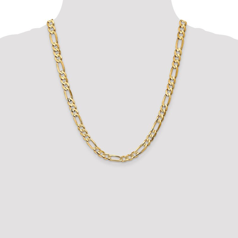 Quality Gold 14k 6.75mm Concave Open Figaro Chain
