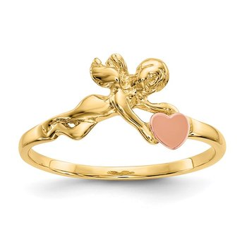 14K Two-tone Angel & Satin Heart Ring
