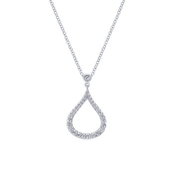 14k White Gold Diamond Pave Droplet Fashion Necklace