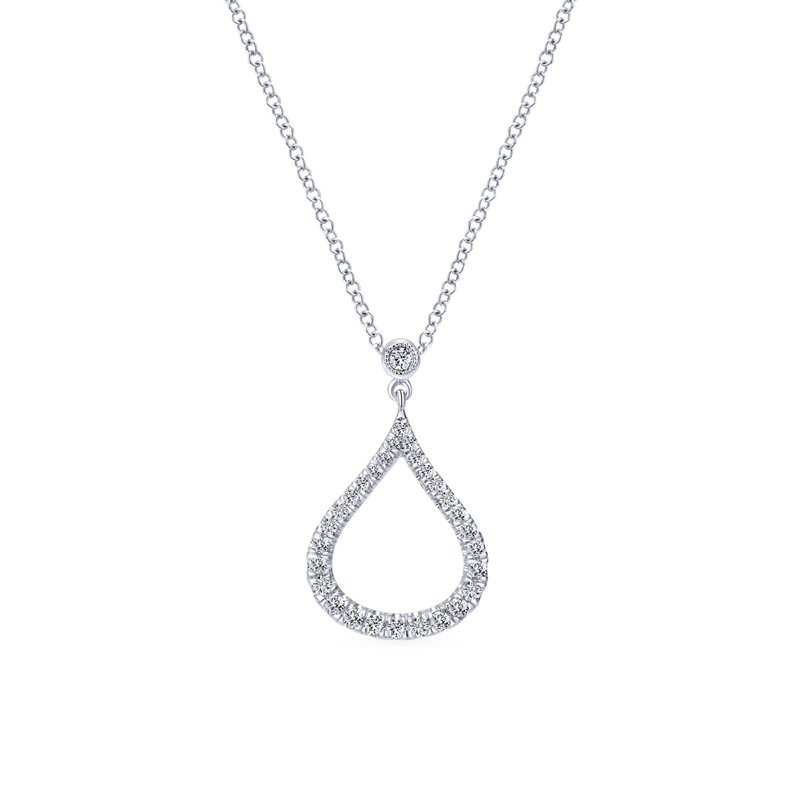 Gabriel Fashion 14k White Gold Diamond Pave Droplet Fashion Necklace