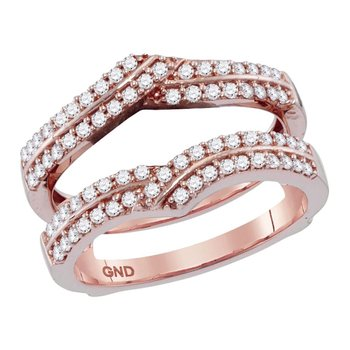14kt Rose Gold Womens Round Diamond Ring Guard Wrap Solitaire Enhancer 1/2 Cttw