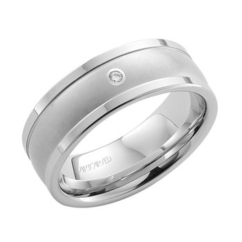 White Tungsten Carbide Wedding Band