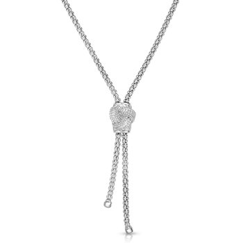 Sterling Silver .115ct. Dia Popcorn Necklace