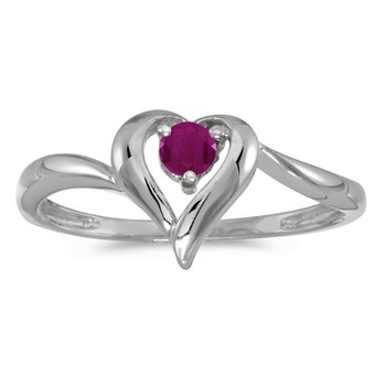 14k White Gold Round Ruby Heart Ring