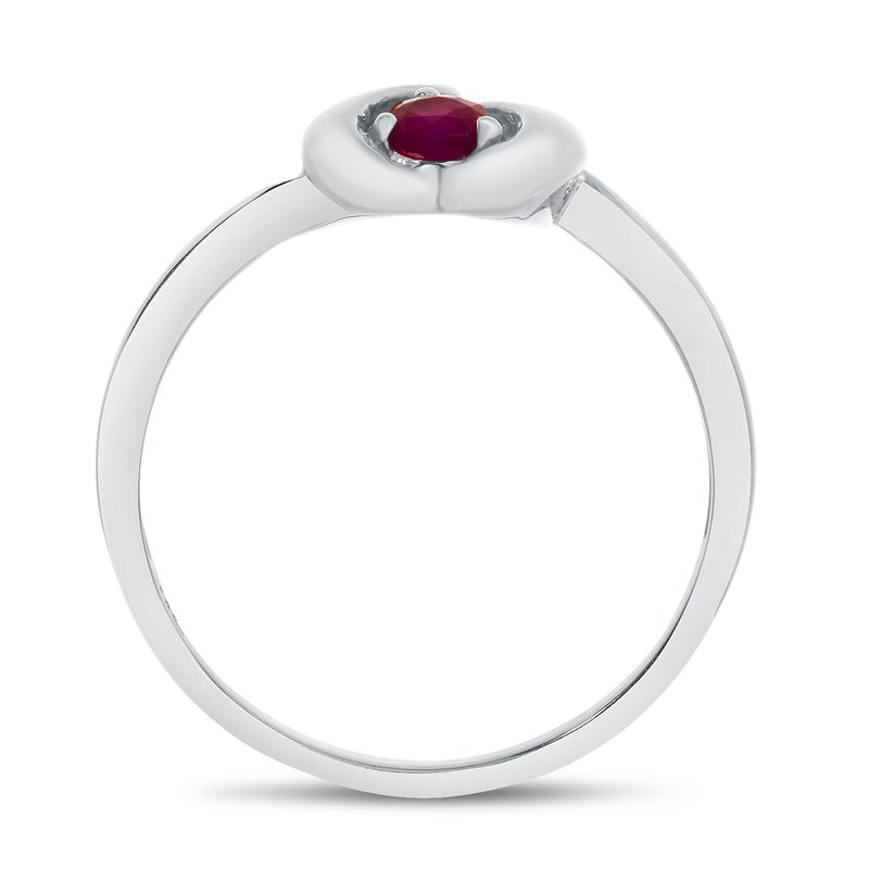 Color Merchants 14k White Gold Round Ruby Heart Ring