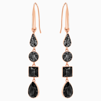 Lisanne Pierced Earrings, Black, Rose-gold tone plated