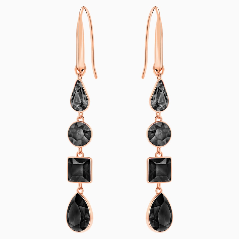 Swarovski Lisanne Pierced Earrings, Black, Rose-gold tone plated