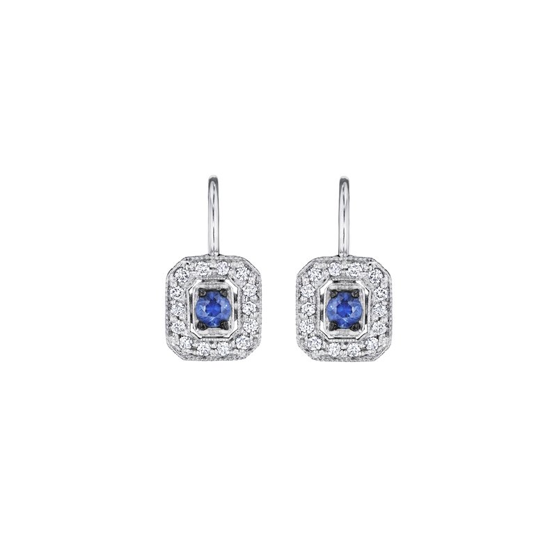 Penny Preville Classic Emerald Shape Blue Sapphire Earrings