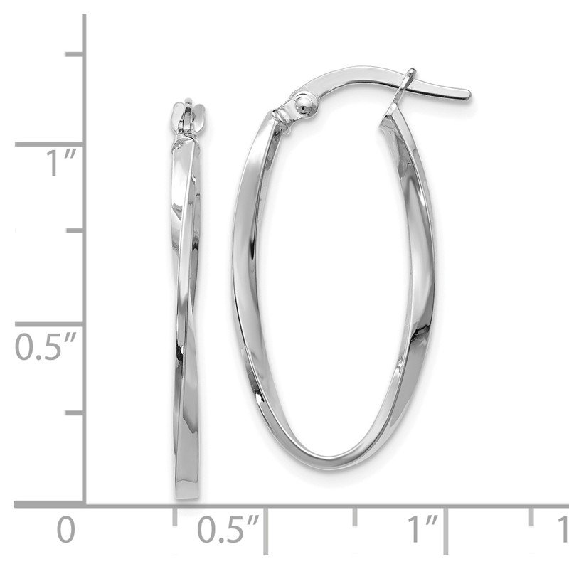 Leslie's Leslie's 14K White Gold Twisted Oval Hoop Earrings