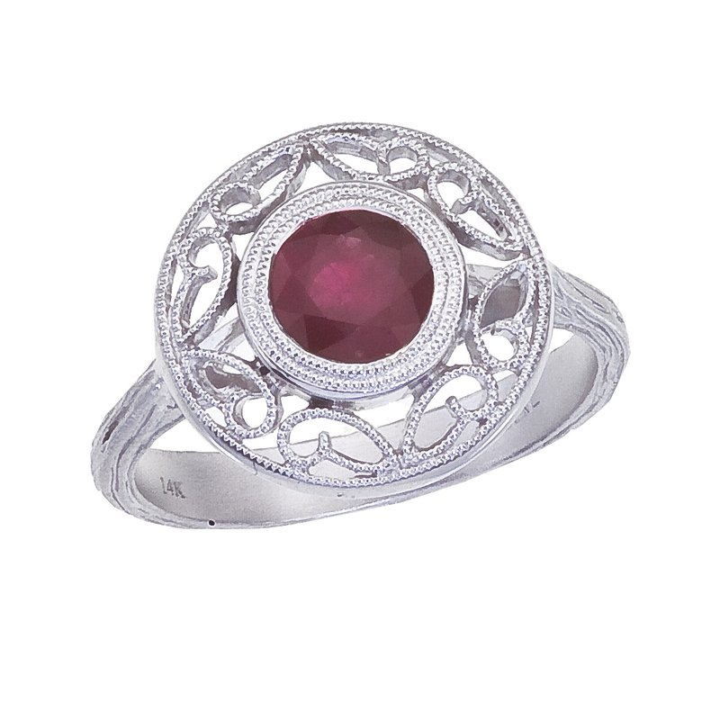 Color Merchants 14k White Gold Ruby Filigree Ring