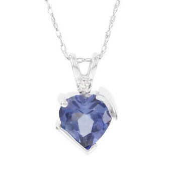 10k White Gold Created Ceylon Sapphire Diamond Accent Heart Pendant