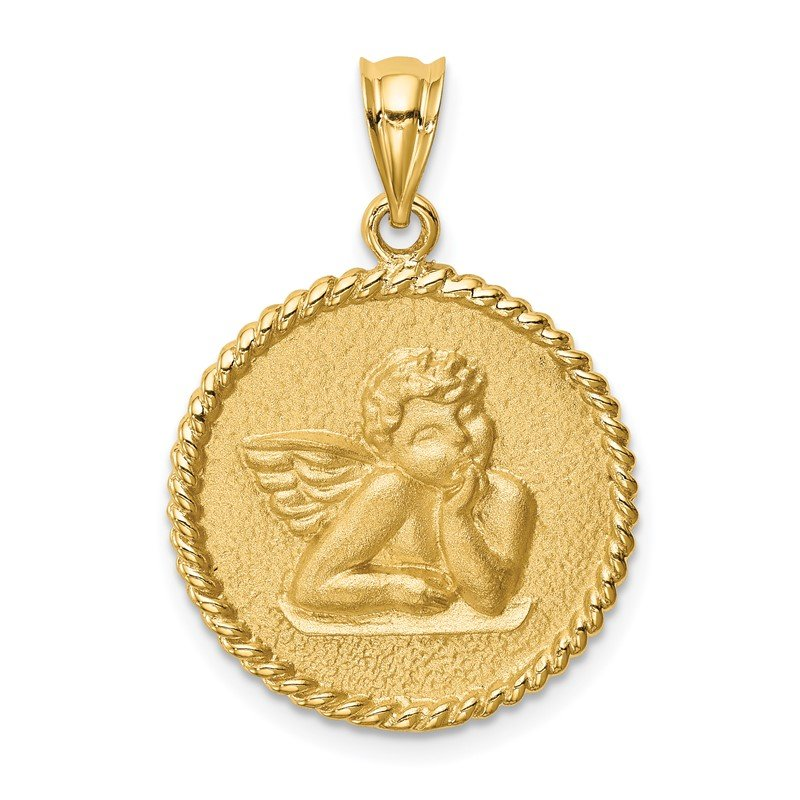 Quality Gold 14K Brushed Angel Pendant