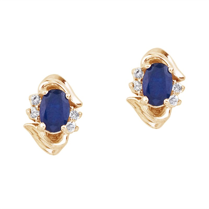 Color Merchants 14k Yellow Gold Sapphire And Diamond Earrings